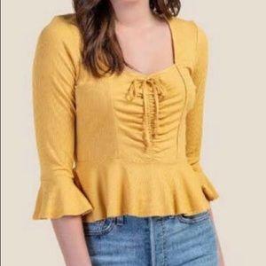 FRANCESCA'S Yellow Corset Top